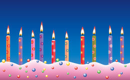 Row of birthday candles Stock Images