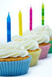Row of birthday cupcakes Royalty Free Stock Photography