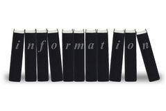Information books. A row of black books each spelling out the word information,  on white Royalty Free Stock Photo