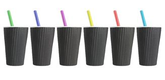 Row of Black Coffee Cups Stock Photography