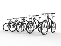 Row of black mountain bikes Royalty Free Stock Image