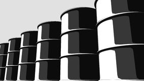 Row of black oil barrels. Cartoon version for presentations and reports. 3D rendering. Row of black oil barrels. Cartoon version for presentations and reports royalty free illustration
