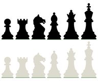 Row of Black and White Chess Pieces. Isolated on White Background. Vector Illustration vector illustration