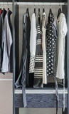Row of black and white dress in wardrobe Royalty Free Stock Photo