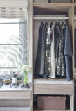 Row of black and white dress in wardrobe Royalty Free Stock Images