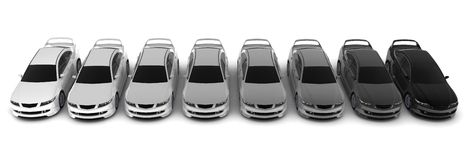 Row blacks and whites cars Royalty Free Stock Image