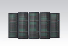 Row of blade server system isolated on gray background Royalty Free Stock Image