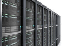 Row of blade server system on white background Royalty Free Stock Photo