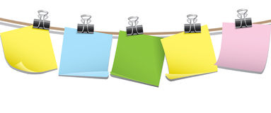 Row of blank memo notes vector illustration