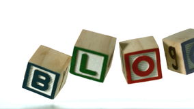 Row of blocks spelling Blog falling over Stock Photos