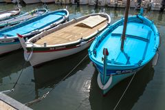 Blue Boats Cassis royalty free stock photography