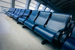 Row of blue chair Royalty Free Stock Images