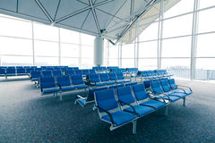 Row of blue chair Royalty Free Stock Image