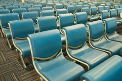 Row of blue chair Stock Photo