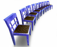 Row of blue chairs Royalty Free Stock Photography