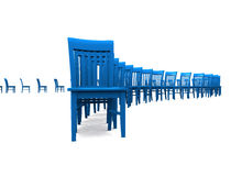 Row of blue chairs Royalty Free Stock Photo