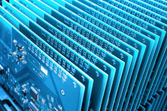 A row of blue communication circuit board closeup Stock Photo
