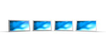 Row of blue computer tablets Stock Images