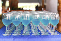 Row of blue curacao cocktail Stock Photography