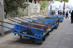 A row of blue dray Royalty Free Stock Photo