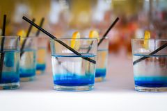 Row of blue drinks Royalty Free Stock Photos