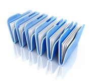 Row blue file. On white background (done in 3d royalty free illustration