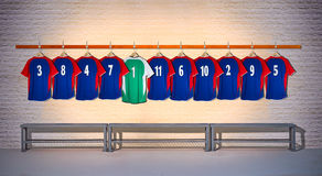 Row of Blue Football Shirts Royalty Free Stock Images