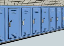 Row of Blue Lockers Stock Images