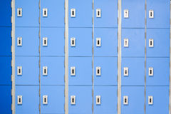 A row of blue  lockers. Stock Photography