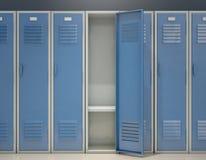 Locker Open. A row of blue metal school lockers with one open door revealing that it is empty - 3D render Stock Photography