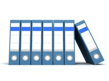 A row of blue office folders on white background. A row of blue office folders on the white background Stock Photo