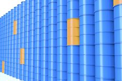 Row of Blue oil drums. Isolated on a white background royalty free illustration