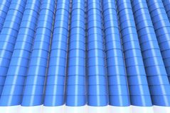 Row of Blue oil drums. Isolated on a white background stock image
