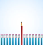 Row of Blue Pencils With One Selected Red. Realistic vector illustration Stock Photos