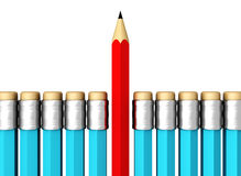 Row of Blue Pencils With One Selected Red on White. Background Stock Photos