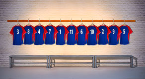 Row of Blue and Red Football Shirts 3-5 Stock Images