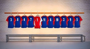 Row of Blue and Red Football Shirts 3-5 Royalty Free Stock Photo
