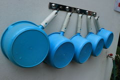 Row of blue sauna buckets Stock Images