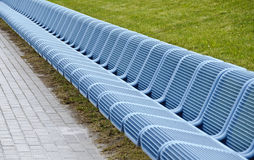 Row of blue seats Stock Photo