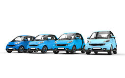 Row of Blue Small Cars Stock Images