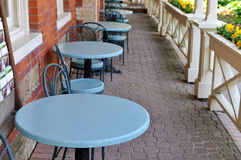 Row of blue tables Royalty Free Stock Photography