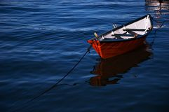 Row Boat. Anchored in the harbour royalty free stock images