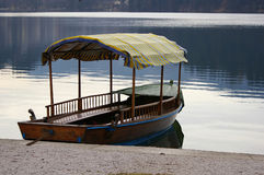 Row boat. At a standstill. Taken at the lake Bled stock photo