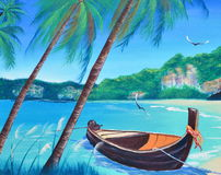 Row boat on the beach oil painting on canvas Royalty Free Stock Images