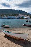 Row boat docked in cadaques sand beach Royalty Free Stock Photos