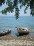 Row boat on the Haitian shore Royalty Free Stock Images