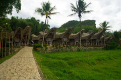 Row of Boat Houses Tana Toraja Village Stock Photography
