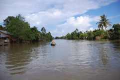 Row boat on the Mekong river Royalty Free Stock Photo