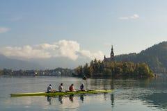 Row boat practicing at lake Bled Stock Photos
