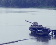 Row boat in the river. Row boat at the dock Stock Photography